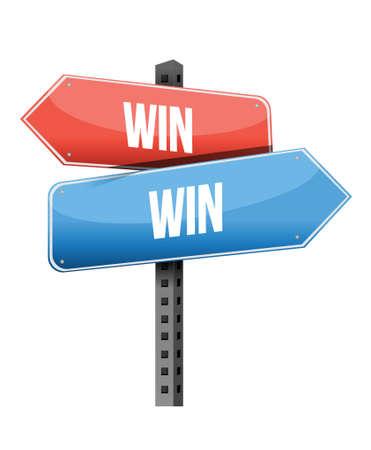 win win road sign illustration design over a white background Illustration
