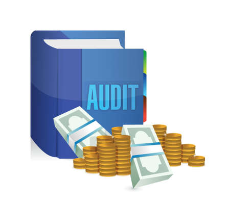verification and validation: audit book and money illustration design over a white background