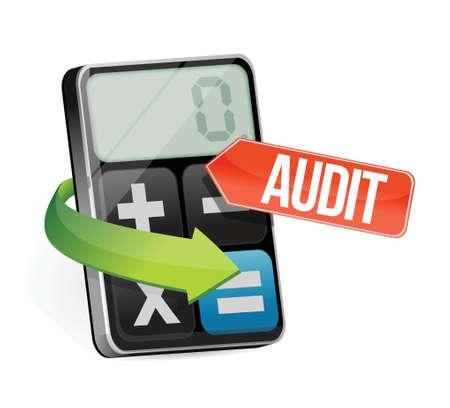 internal revenue service: calculator audit sign illustration design over a white background