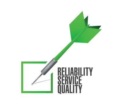 reliability: reliability, service, quality check dart illustration design over a white background
