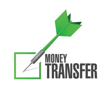 money transfer check dart illustration design over a white background