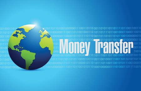 international globe money transfer sign illustration design over a white background