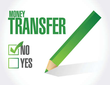buisnes: no money transfer check mark illustration design over a white background
