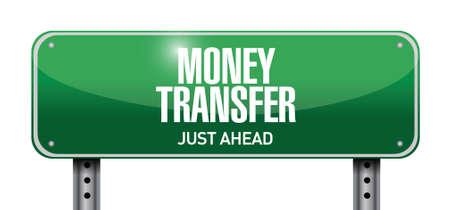 money transfer road sign illustration design over a white background