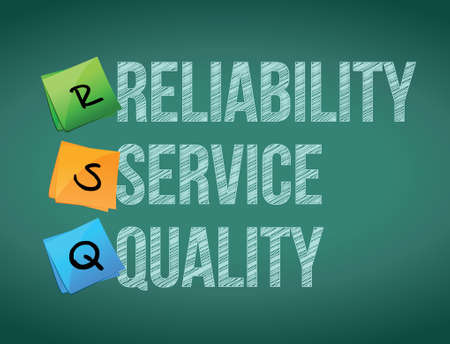 reliability: reliability service quality board post illustration design over board background