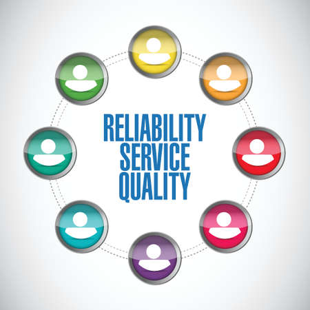 satisfy: reliability service quality people network illustration design over a white background Illustration