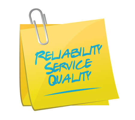 satisfy: reliability service quality memo illustration design over a white background