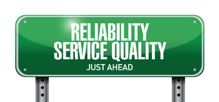 promising: reliability service quality road sign illustration design over a white background