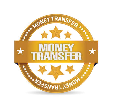 money transfer seal illustration design over a white background Çizim