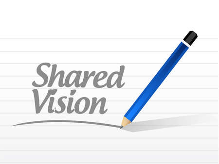 shared goals: shared vision message illustration design over a white background Stock Photo