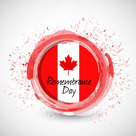 quebec: canada remembrance day ink sign illustration design over a white background