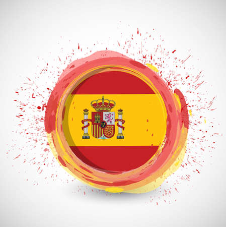 spanish ink flag illustration design over a white background