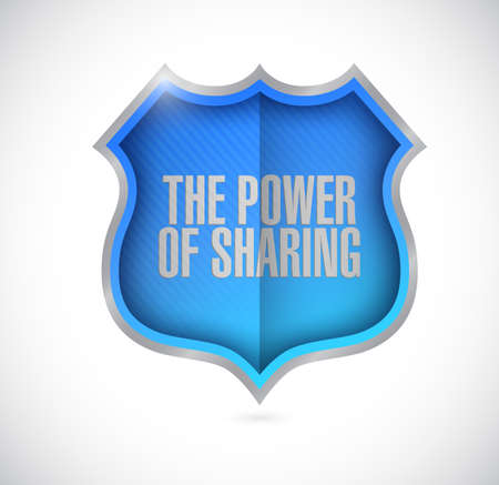 aiding: the power of sharing shield illustration design over a white background Stock Photo