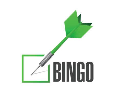 bingo: cheque bingo ilustración dardo diseño sobre un fondo blanco