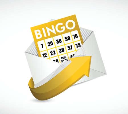 mauve: bingo card inside an envelope illustration design over a white background