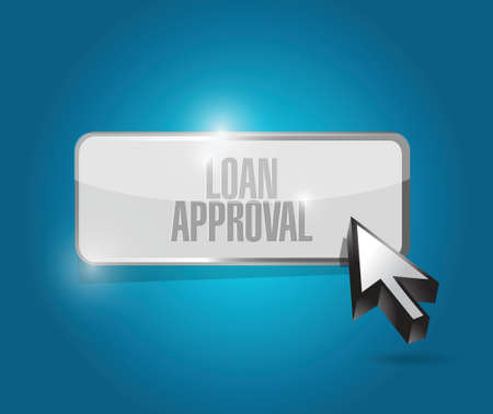 approval button: loan approval button illustration design over a blue background Illustration