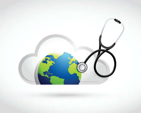 globe  the terrestrial ball: earth and cloud medical concept illustration design over a white background Illustration