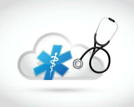 esculapio: concepto de computaci�n en nube ilustraci�n m�dica de dise�o sobre un fondo blanco Vectores