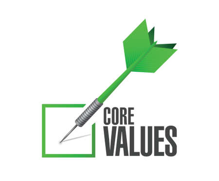 core: core values check dart illustration design over a white background