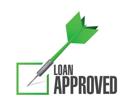 borrower: loan approved dart check mark illustration design over a white background Illustration