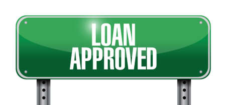 loaning: loan approved sign illustration design over a white background