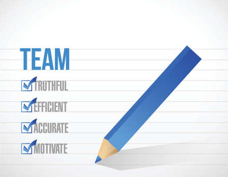 promptly: team check list illustration design over a white background Illustration