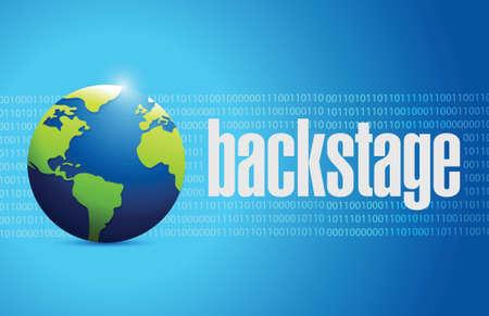backstage globe sign illustration design over a binary background