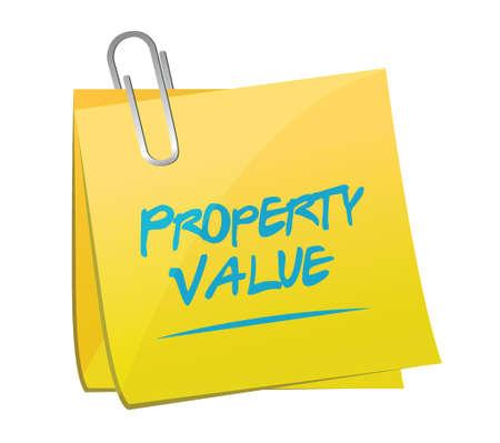 home value: property value memo post illustration design over a white background Illustration
