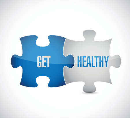 get healthy puzzle pieces illustration design over a white background Ilustração