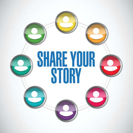 tell stories: share your story people diagram illustration design over a white background Illustration
