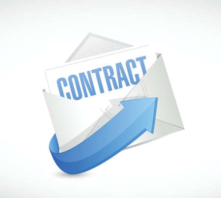 autographing: contract mail illustration design over a white background Illustration