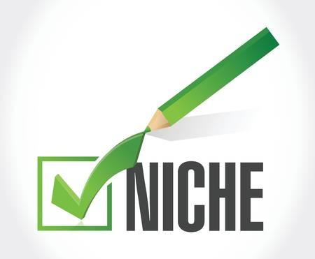 niche: niche check mark illustration design over a white background