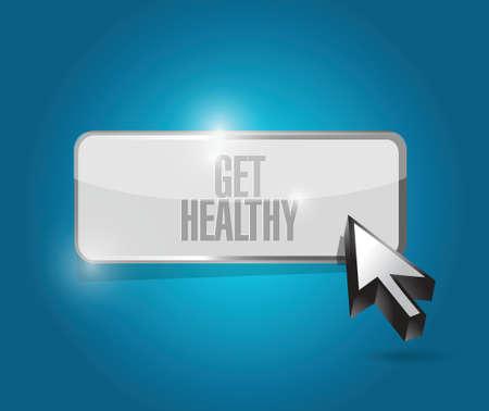 get a workout: get healthy button illustration design over a blue background