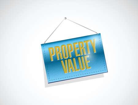 hanging banner: property value hanging banner illustration design over a white background
