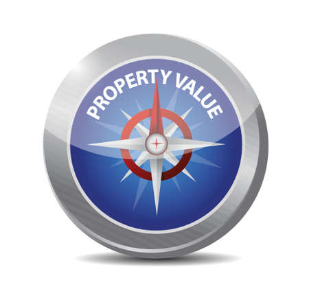 valuation: property value compass illustration design over a white background