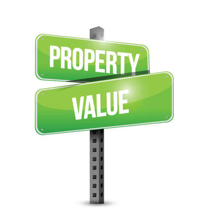 property: property value road sign illustration design over a white background