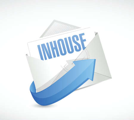in-house mail illustration design over a white background