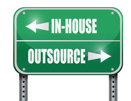 outsource: in-house and outsource road sign illustration design over a white background