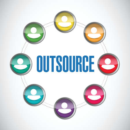 outsource: outsource people diagram illustration design over a white background