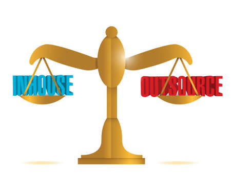 outsource: inhouse and outsource balance illustration design over a white background