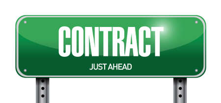 autographing: contract road sign illustration design over a white background