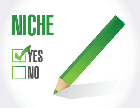 niche: yes to niche. illustration design over a white background