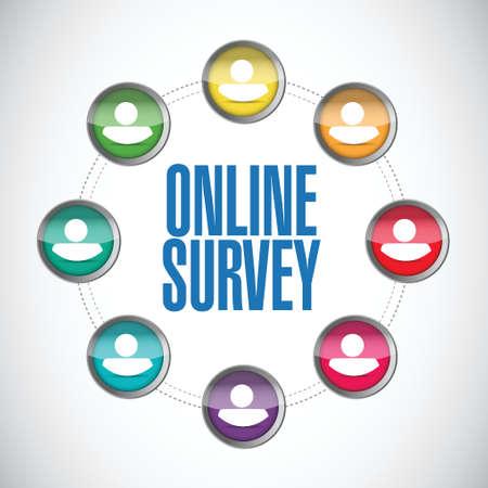 surveying: online people survey illustration design over a white background Illustration