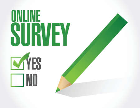customer survey: online survey check list illustration design over a white background Illustration