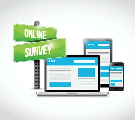 web survey: online survey computer technology illustration design over a white background