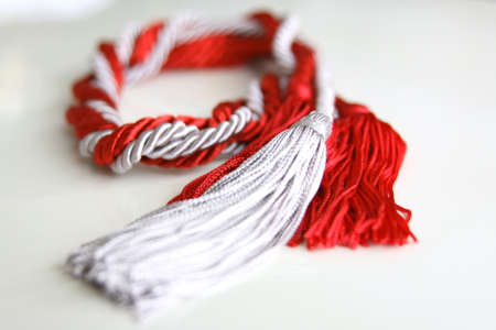 tassel: grey and red ropes with tassel isolated on white