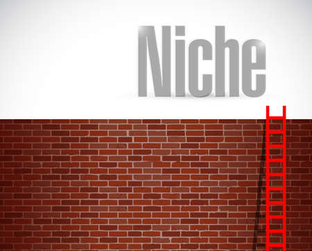 clime: clime to the niche. ladder concept. illustration design over a brick wall background