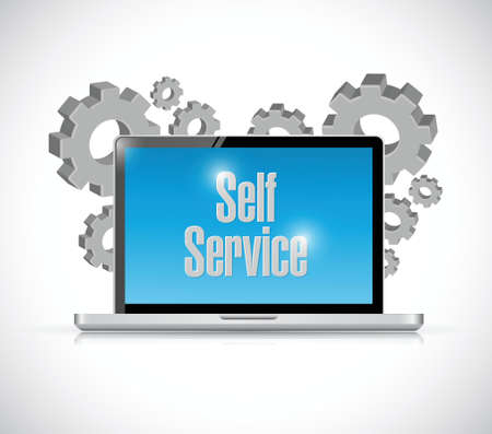 self service computer technology illustration design over a white background Vectores