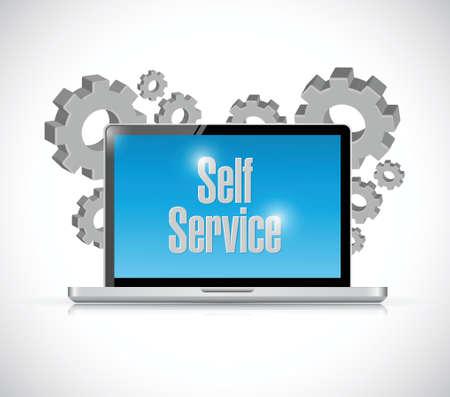 self service computer technology illustration design over a white background Illustration