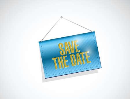 hanging banner: save the date hanging banner illustration design over a white background